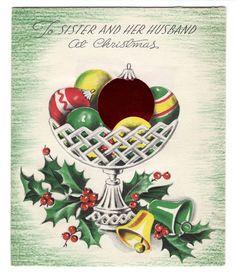 Vintage Unused Memory Lane Christmas Greeting Card Bowl Of Ornaments  | eBay