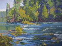"""Artist Linda Curtis: Whitewater rafting and traveling with husband and dogs fuels her inspiration. You can find her on a river bank, in a field, or by the edge of a marsh.  """"Being out in nature allows me to study the nuances needed to convey my interpretation of the scene."""""""