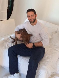 Brandon Bollig and a pit bull