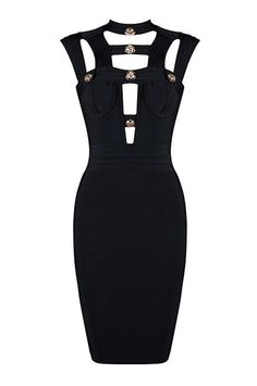 Button Hollow Out Black Bandage Dress