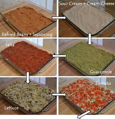 7 Layer Dip (2 cups refried beans, taco seasoning, 16 oz sour cream, 8 oz cream cheese, 16 oz guacamole, 16 oz salsa, shredded lettuce, large tomato, and shredded cheese - 4 Cheese Mexican Blend)