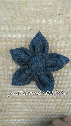 Handmade Blue Harris Tweed Fabric Flower by JustSewYorkshire