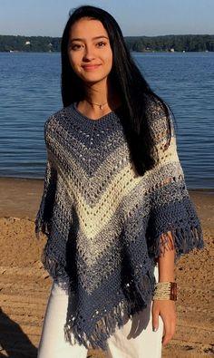 Poncho Crochet Pattern Photocopy To Make Girls Childs Fringed Stripe Poncho Top
