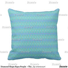 Diamond Shape Aqua Purple  > Throw Pillows