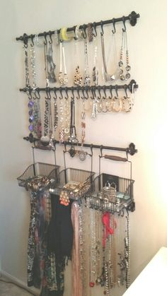 Jewelry and scarf organization: Ikea Fintorp rails, hooks, and baskets