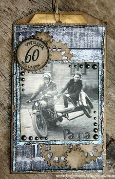 Wenche J made this cute envelope card with papers, stamps and pearls from Papirdesign