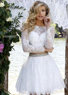 Sherri hill 50073 short beaded lace long sleeves two piece prom dresses 2016 [sh 50073 Cheap Homecoming Dresses, Sherri Hill Prom Dresses, Prom Dresses 2016, Dresses For Teens, Dance Dresses, Bridal Dresses, Short Dresses, Bridesmaid Dresses, Formal Dresses