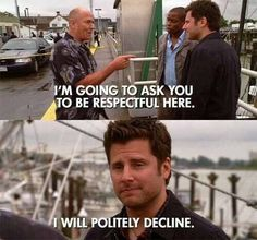 Shawn Spencer favorite show of all time! - Relationship Funny - Shawn Spencer favorite show of all time! The post Shawn Spencer favorite show of all time! appeared first on Gag Dad. Psych Quotes, Tv Quotes, Movie Quotes, Psych Memes, Tv Memes, Funny Quotes, Shawn And Gus, Shawn Spencer, Hunger Games