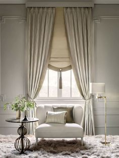 wall treatment ideas, wall treatments Made to measure curtains & bedspreads - Togas www. Home Curtains, Curtains With Blinds, Window Curtains, Neutral Curtains, Curtain Styles, Curtain Designs, Living Room Designs, Living Room Decor, Bedroom Decor