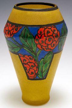 Art Nouveau, Art Deco, Cameo, Nancy France, Green Leaves, Glass Vase, Restoration, Planter Pots, Vibrant