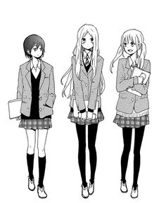 Image about girl in Anime/Manga by 마천루 ♡ on We Heart It Friend Anime, Anime Best Friends, Cute Friends, Chica Anime Manga, Manga Girl, Anime Girl Drawings, Cute Drawings, Anime Uniform, Manga Clothes