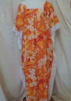 Vtg Edna Oliver Polyester Dress Orange white floral Hawaiian Muu Muu Sz XL  #EdnaOliver #Hawaiian #Casual