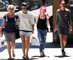 Girls' shopping trip! Ruby Rose (second left) enjoyed some girl-time on Tuesday in Sydney ahead of the GQ Australia Awards that evening, hitting the shops with her mum, fiancee and friend