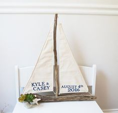 Nautical Wedding Centerpiece Driftwood Sailboat