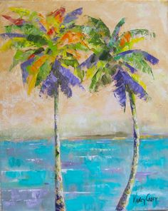 Original art oil Painting palm trees ocean by NancyCaseyGallery