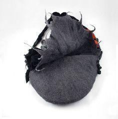 Felted Bag Boho Handbag Grey Purse wild Felt Nunofelt por filcant