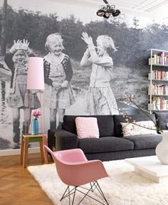 pink  grey family room - love the blown up photo wallpaper!