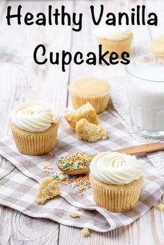 Healthy Vanilla Cupcake Recipe - The Artisan Life This healthy vanilla cupcake recipe is lighter & has less sugar! Swap some butter for Greek yogurt with these healthy vanilla cupcakes.
