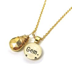 Ultra Luxe Gold Gem Library Necklace Word Pendant by writtennerd, $55.00