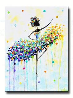 """""""The Dancer's Joy"""" Large #Art Giclee PRINT CANVAS PRINT of Original Abstract Dance Painting ballet wall art colorful modern palette knife textured impasto dancer set in shades of aqua light blue white gold purple green. Home wall decor, design,mixed media acrylic painting, 1.5"""" deep gallery wrapped canvas. Original SOLD painting original piece of art created by internationally collected artist, Christine Krainock.  DISPLAY THE SET  ~ Also available - coordinating painting - """"Dancer en…"""