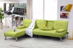 3-Seater-Fabric-Sofa-Bed-Settee-Chaise-Longue-L-Shaped-Corner-Grey-Green-Cheap