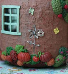 """Купить Домик-шкатулка """"Деревенское очарование"""" - мятный, домик, шкатулка для мелочей, баночка, полимерная глина"""