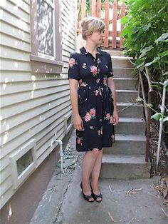 1940s Midnight Garden Rayon Dress.