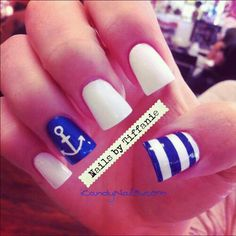 For my sailor baby boy shower. Cute sailor nails. Very bold colors.