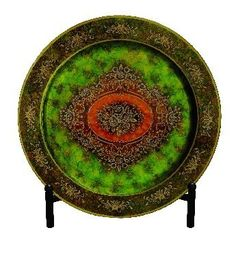"Glass Plate with Easel 18""D by HDC Inc.. $84.00. Decorative Plate with Easel. Size: 18""D. Color: Green/Gold. actual color may differ from online image. Glass Plate with Easel 18""D"