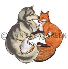 wolf and fox illustration - Google Search