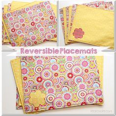 A simple and free pattern and tutorial on how to make placemats (reversible placemats). #Sewing #Pattern #Placemats