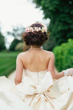 big bow, wedding dress, little gloves, flower crown