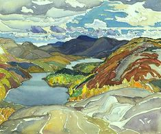 Franklin Carmichael, La Cloche Panorama, watercolour over graphite on wove paper, x 34 cm, National Gallery of Canada Tom Thomson, Emily Carr, Watercolor Landscape, Landscape Art, Landscape Paintings, Watercolor Art, Group Of Seven Artists, Group Of Seven Paintings, Canadian Painters
