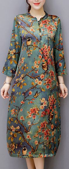 US$35.49 + Free shipping. Size: S~4XL. Fall in love with casual and elegant style! Vintage Women Floral Printed Long Sleeve Stand Collar Midi Dress.