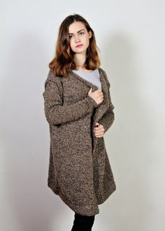 Wool coat  Women's knit coat  Brown sweater  by Isabellwoolstudio