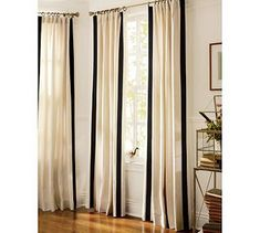 drop cloth curtains with ribbon trim