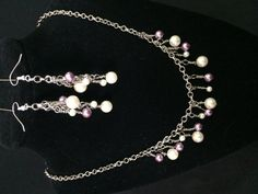 Heavy Silver Chain with Cream and Dark Lilac by ScottishDryAd, $20.00