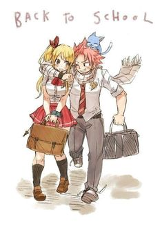 Nalu and Happy to Fairy Tail High by rboz Natsu Fairy Tail, Fairy Tail Ships, Art Fairy Tail, Fairy Tail Amour, Anime Fairy Tail, Fairy Tail Funny, Fairy Tail Love, Fairy Tail Guild, Fairy Tales