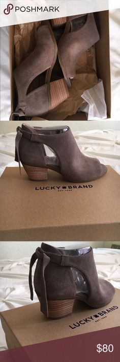 Cute Lucky brand peep toe booties! New in box! Never worn! New in box! They run 1/2 a size bigger. Best fits a size 7 Lucky Brand Shoes Ankle Boots & Booties