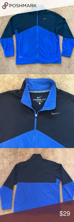 Nike Therma Fit Jacket Blue Navy size XL Worn carefully with PLENTY of life left.  Comfortable and stylish.  No rips or stains.  Get yours for a steal!  Thanks for looking and be sure to check out my other items. Nike Jackets & Coats Performance Jackets
