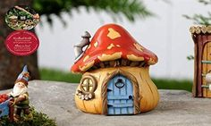 Woodland Fairy Miniature Mushroom House Mini Garden Statue Planter Home Accent | eBay
