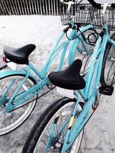 Seaside, Florida. Lots of bike riders! Best mode of transportation!