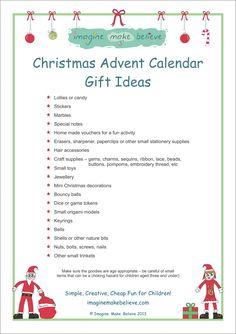 Christmas Advent Calendar Gift Ideas - Imagine. Make. Believe, trinkets, gifts, small #christmas #adventcalendar #gifts #trinkets #kids