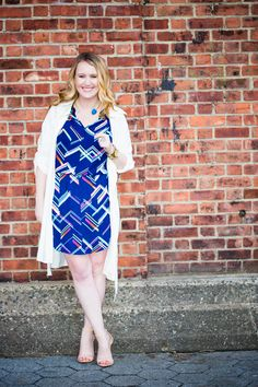 Navy and multicolor print dress with tie waist