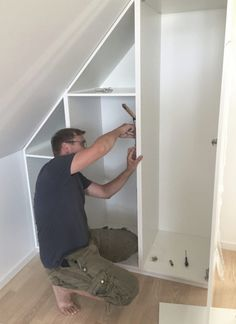 Bedroom Built In Wardrobe, Attic Wardrobe, Wardrobe Storage, Staircase Storage, Loft Storage, Loft Room, Closet Bedroom, Diy Loft Conversion, Slanted Ceiling Closet