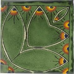 Green Peacock Border Talavera Mexican Tile