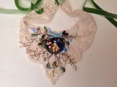 """Victorian bib necklace,on ivory lace, """"Chickadee of my heart"""",holly berry,pearls,felt and ribbon work,velvet ribbons"""