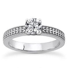0.25 Carat Diamond Engraved Engagement Ring