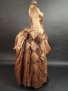 1880s Brown Silk & Velvet Bustle Gown  $895.00