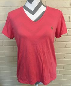 Peach Colored Ralph Lauren Sport Tee Shirt Ladies Size Large with VNeck   eBay